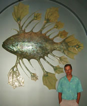 Bruce w/fish Wall Sculpture